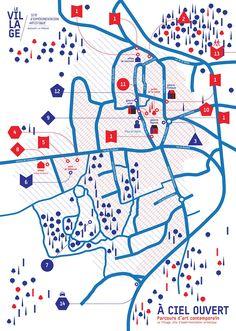 carte-parcours-A-ciel-ouvert-le-Village-Bazouges. Graph Design, Web Design, Icon Design, Urban Design, Design Graphique, Art Graphique, Fort Worth Map, Plan Ville, App Map