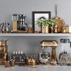 models: Other kitchen accessories - Copper Set Kitchen Items, Home Decor Kitchen, Kitchen Gadgets, Home Interior, Kitchen Interior, Interior Design, Beautiful Kitchens, Cool Kitchens, Copper Kitchen