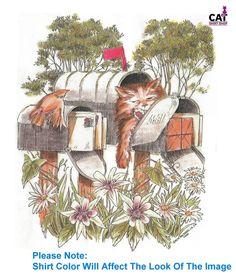 Sleepy Cat in Mailbox Shirt, kitty friends & flowers in garden, sweet & furry Cat Garden, Sleepy Cat, Cat Shirts, Mailbox, Shirt Shop, Colorful Shirts, Kitty, Friends, Cats