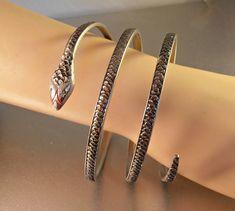 Art Deco Snake Bangle Bracelet Triple Coil Oxidized Silver