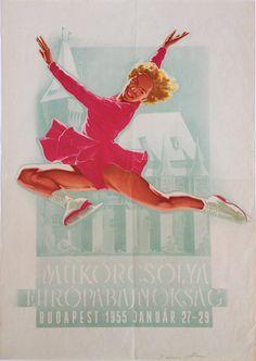 European Figure Skating Championship (Vincze, Dénes - 1955) - 190 USD at Budapest Poster Gallery Shop