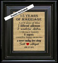 15 Year Wedding Anniversary Gift Print Personalized Fifteen Year