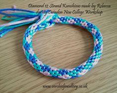 12 Strand Kumihimo Bracelet made by Rebecca during workshop at Swindon New College. www,verchieljewellery.uk