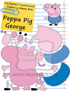 Plantillas Personajes Actuales Peppa Pig Pig Crafts, Felt Crafts, Character Template, Accessoires Barbie, Felt Puppets, Felt Quiet Books, Pig Party, Pig Birthday, Busy Book