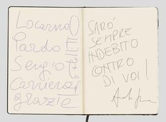 Page 6-7: Marks of gratitude by 2013 Pardo alla Carriera Sergio Castellitto and Andrea Segre, Director of Indebito, #Locarno66 opening movie,    #analogblogging #locarno66 #moleskine