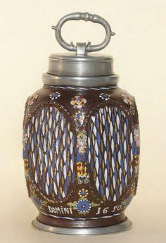 Creussen Stoneware Bottle dated 1650, H. 20 cm