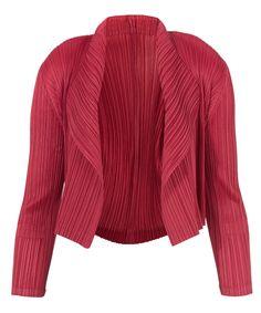 Pleats Please Issey Miyake Burgundy Pleated Bolero Jacket | Womenswear | Liberty.co.uk