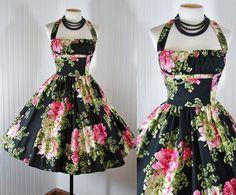BERNIE DEXTER Dress Vintage 50s BLACK ROSE Bust Shelf Halter Circle S M L XL XXL | eBay
