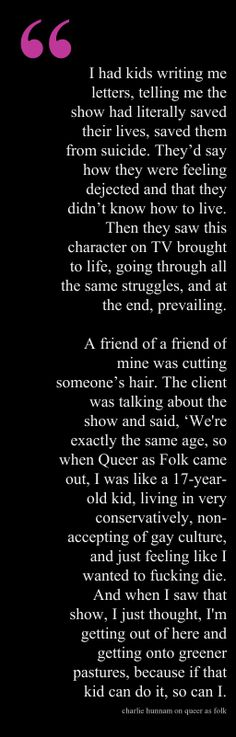 Charlie Hunnam on Queer as Folk.