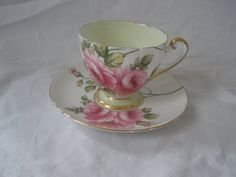 Vintage Teacup and Saucer Shelley China Rambler Rose