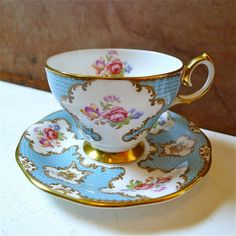 Vintage Queen Anne Lady Eleanor Bone China Teacup & Saucer from twolittleowls
