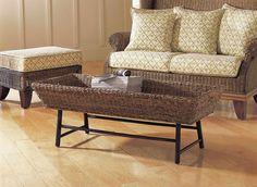 Padma's Plantation Basket  Weave Coffee Table