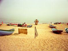 Fishing boats on the beach of Klitmøller, 1991