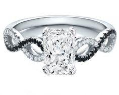 Radiant Cut Diamond Cut Black & White infinity Engagement Ring White Gold