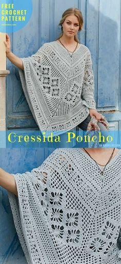 Free Crochet Pattern - Cressida Poncho - Crochet → Poncho, Neck, Torso | size: S/M – L/XL – XXL/XXXL | Written in PDF | UK Terms Level: upper beginner yarn: Garnstudio DROPS Paris hook: 4.5 mm Author: by Drops Design #FreeCrochetPattern # CressidaPoncho #CrochetPoncho