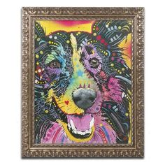 """Trademark Art """"Smiling Collie"""" by Dean Russo Ornate Framed Graphic Art Size: 20"""" H x 16"""" W x 0.5"""" D"""