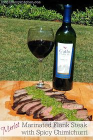 Merlot Marinated Flank Steak with Spicy Chimichurri for #SundaySupper