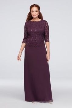 The look of two perfectly coordinated pieces with the ease of a dress, this long chiffon plus-size gown features a sequin lace bodice with illusion 3/4-sleeves and a small V-back. By Alex Evenings