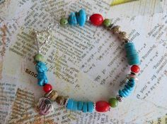 Beaded Bracelet with Turquoise Coral & Jasper by tuscanroad, $34.00