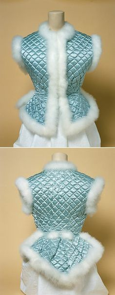 Skaiting Waistcoat, 1870 - Ice-blue silk padded and trimmed with swansdown for warmth.