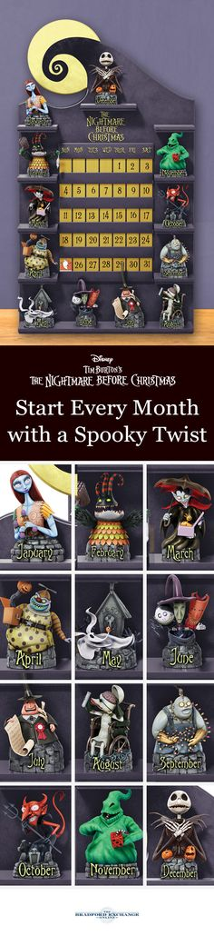 This spook-tacular perpetual calendar showcases everything you love about Disney Tim Burton& The Nightmare Before Christmas all year long. It includes 12 different character figurines with custom display and 47 date, holiday and special occasion tiles. Halloween Town, Halloween Crafts, Halloween Decorations, Halloween Witches, Happy Halloween, Tim Burton, Little Christmas, Xmas, Jack The Pumpkin King