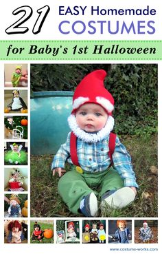 15 halloween costumes for kids/girl!DIY Halloween costumes for kidsno sewing necessary! internet at large there are so many great ideas for DIY Halloween costumes out there. Costume Halloween Bebe Garcon, Garden Gnome Halloween Costume, Halloween Costumes To Make, Diy Halloween, Halloween Costume Contest, Costume Ideas, Baby Gnome Costume, Halloween Costumes For Babies, Halloween Photos