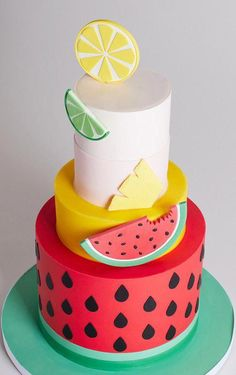 New fruit cake design sweets Ideas Pretty Cakes, Cute Cakes, Beautiful Cakes, Amazing Cakes, Fruit Birthday, Watermelon Birthday, Watermelon Cake Ideas, 2nd Birthday, Watermelon Wedding