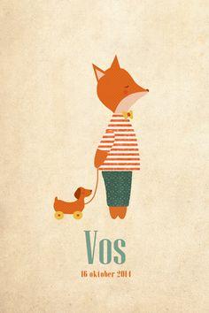 Geboortekaartje jongen - vos - Lief vosje met speelgoedhondje - Pimpelpluis  https://www.facebook.com/pages/Pimpelpluis/188675421305550?ref=hl (# vos - vosje - dieren - strik - lief - hond - vintage - schattig - speelgoed - origineel)