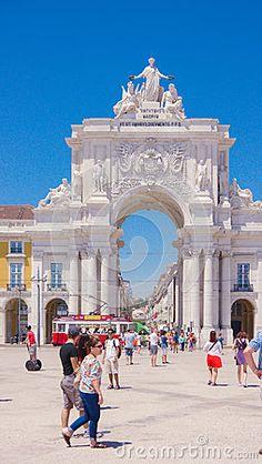 The triumphal arch in Rua Augusta,Terreiro do Paço square, Lisbon - Portugal.