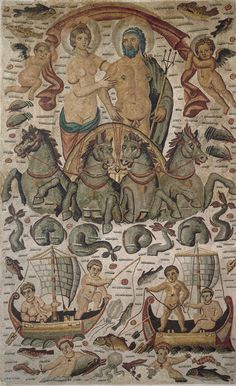 "Greek Mosaic  --  ""Triumph of Neptune  Amphitrite""  --  Circa 315-325 CE  --  Discovered in 1842 in Constantine (ancient Cirta), Algeria."