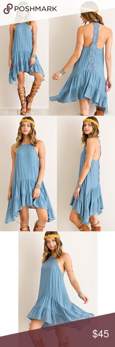 ATHENA open back flutter dress - BLUE Solid halter style dress featuring cute back panel. Non-sheer. Lined. Woven. Lightweight. 65%RAYON 35%POLYESTER. NO TRADE, PRICE FIRM Bellanblue Dresses