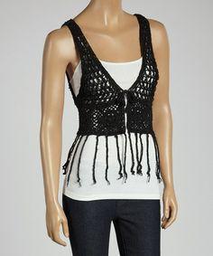 Loving this Black Crochet Fringe V-Neck Vest on #zulily! #zulilyfinds