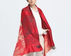 Elegantný dámsky šál z kašmíru so vzorom v červenej farbe, č.3,