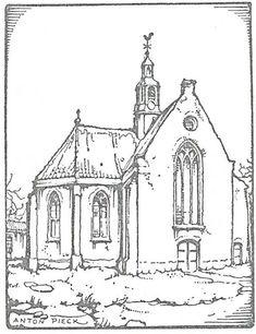 Illustratietekening Oude Kerk Heemstede door Anton Pieck, uit: P.H.Ritter. Een kapper en een professor (over Nicolaas Beets), 1939.