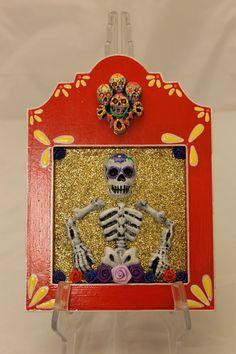 Dia De Los Muertos Nicho Plaque Red. $25.00, via Etsy.