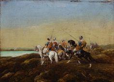 Adolf Schreyer (German, 1828-1899), Arab Warriors on Horseback, oil on panel, inscribed Schreyer on reverse, 4.75″ x 6.75 The Knohl collection