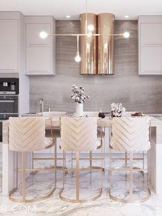 Modern Kitchen Design, Interior Design Kitchen, Kitchen Decor, Cocina Art Deco, Open Plan Kitchen Living Room, Cuisines Design, Luxury Home Decor, Kitchen Remodel, Decoration