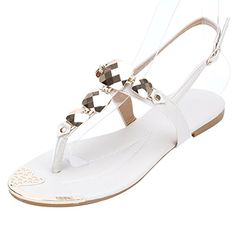 70e1d84e3 Ashlen Women s Crystal Faux Leather Casual Fashion Flat Thong Sandals     Find out more about the great product at the image link.