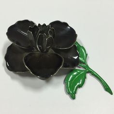 Vintage Mod 60's BIG Retro Enamel Flower Brooch Pin Lot Black Gray Green Stem #Wedding Bouquet #Repurpose