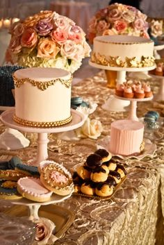 Marie Antoinette wedding. I would love to steal this idea on a smaller scale for a little girl's decadent birthday party. Love the color scheme. Gold, pinks, creams and deep slate blue.
