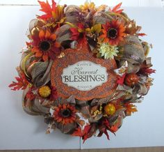 Harvest Wreath, Fall Wreath, Thanksgiving Wreath, Fall Deco Mesh Wreath, Front Door Wreath, Entry Wreath, Harvest Blessings - pinned by pin4etsy.com