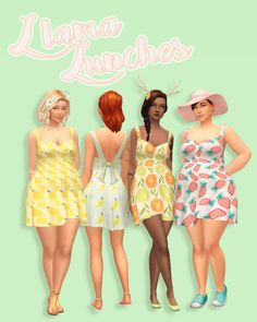 Hamburgercakes: LLama Lunches dress • Sims 4 Downloads