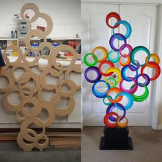 Unique Custom Abstract Wood and Metal Wall Sculptures by Cardboard Sculpture, Cardboard Crafts, Paper Crafts, Cardboard Design, Home Crafts, Diy And Crafts, Crafts For Kids, Art Projects, Projects To Try