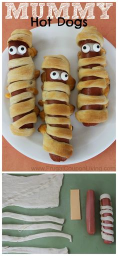 Halloween Mummy Hot Dogs with Crescent Rolls