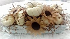 For the love of white: Burlap Sunflowers and Wee White Pumpkins