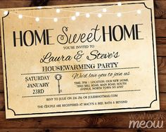 Housewarming Invitation Home Sweet Rustic Home New by wowwowmeow