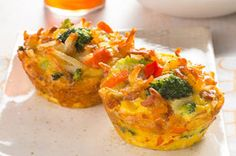 Veggie Frittata Cups Recipe - Kraft Recipes  I would use egg substitute instead of eggs.  These sound really awesome!