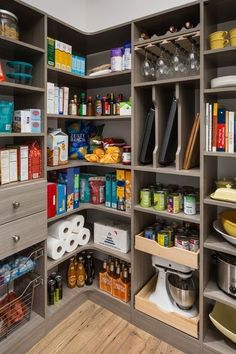 Walk-In Pantry with Corner Shelves #HomeAppliancesLayout