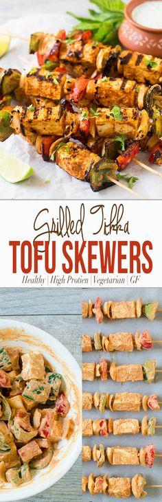Grilled Tofu Tikka Skewers | Tofu Kebabs - Perfect forparty appetizers or making Indian tofu tikka masala. via @watchwhatueat
