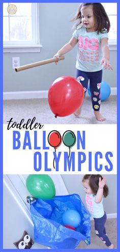 7 great ways to keep your kids, active and entertained indoors with these games. In our first ever Balloon Olympics, participants must use a balloon to play in each event. Perfect for rainy days and can be played with one or more kids at a time! Check out which games make up the events and how you can enjoy the activities at home!  #toddlers #toddleractivities #kids #kidsactivities #indooractivities #EntertainYourToddler